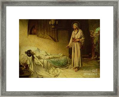 The Raising Of Jairus's Daughter Framed Print by George Percy Jacomb-Hood