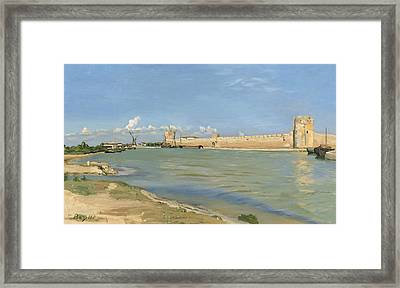 The Ramparts At Aigues Mortes Framed Print by Jean Frederic Bazille