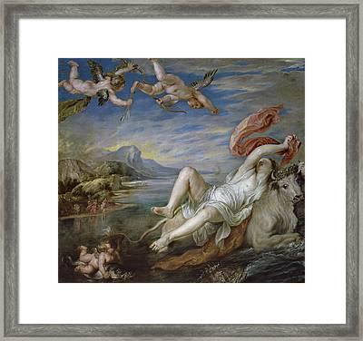 The Rape Of Europa, Copy Of Titian Framed Print