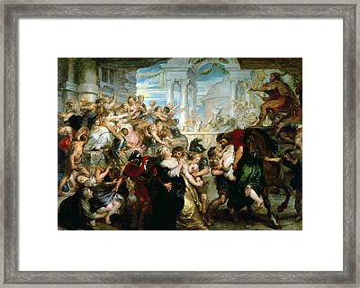 The Rape Of The Sabine Women Framed Print by Peter Paul Rubens