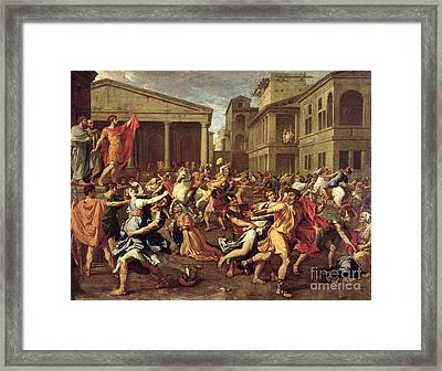 The Rape Of The Sabines Framed Print by Nicolas Poussin