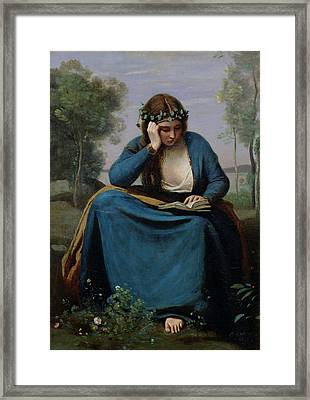 The Reader Crowned With Flowers Framed Print by Jean Baptiste Camille Corot