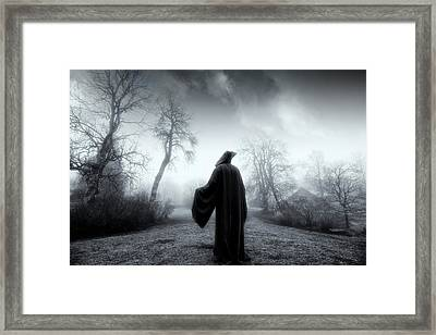The Reaper Moving Through Mist And Fog Framed Print by Christian Lagereek