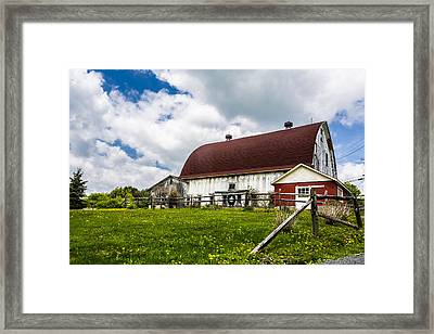 Framed Print featuring the photograph The Red And White Barn by Paula Porterfield-Izzo