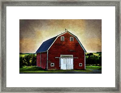 Framed Print featuring the mixed media The Red Barn by Gary Smith