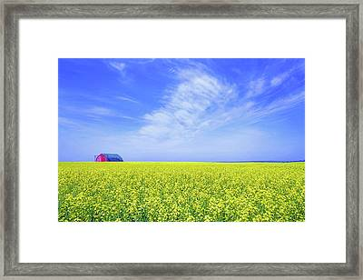 Framed Print featuring the photograph The Red Barn by Keith Armstrong