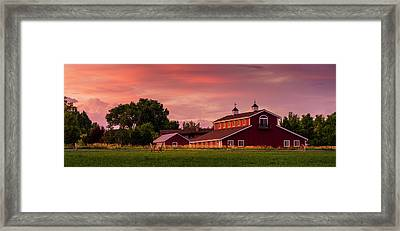 The Red Barn - Panoramic Framed Print by TL Mair