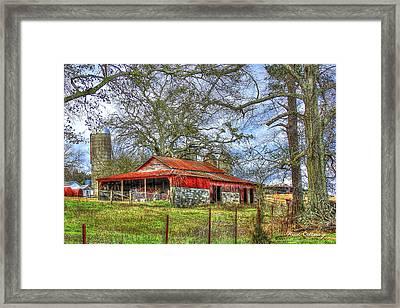 The Red Barn Framed Print by Reid Callaway