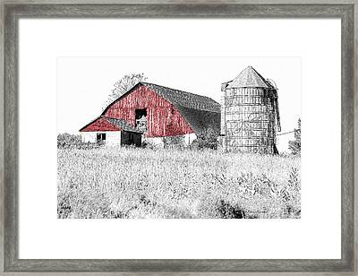 The Red Barn - Sketch 0004 Framed Print by Ericamaxine Price