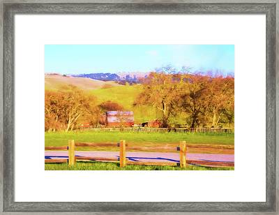The Red Barn Framed Print by Terry Davis