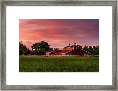 The Red Barn Framed Print by TL Mair