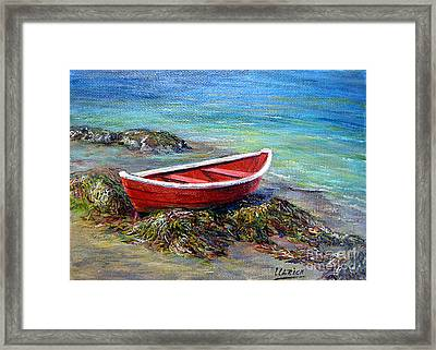 The Red Boat Framed Print by Jeannette Ulrich