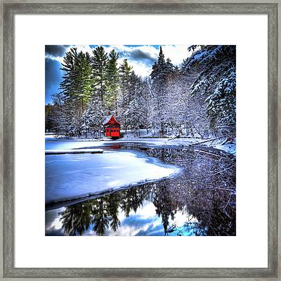 The Red Boathouse On Beaver Brook 2 Framed Print by David Patterson