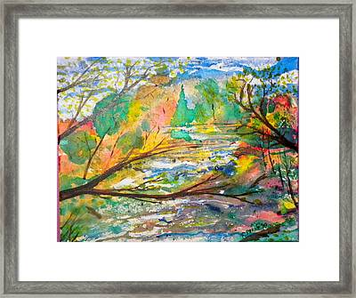 The Red Bridge At The Swift River Framed Print by Perry Conley