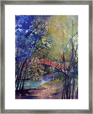 The Red Bridge Framed Print by Robin Miller-Bookhout