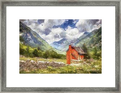 The Red Cabin By Sarah Kirk Framed Print