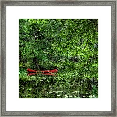 The Red Canoe 2 Framed Print by David Patterson