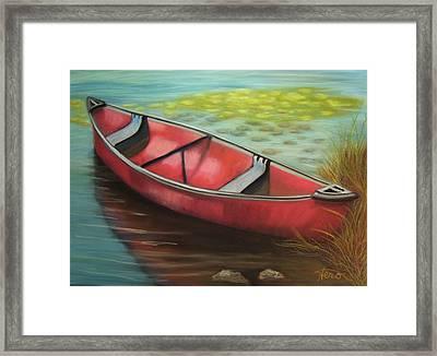 The Red Canoe Framed Print by Marcia  Hero
