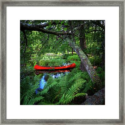 The Red Canoe On The Lake Framed Print by David Patterson