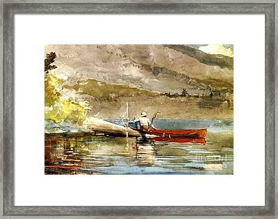The Red Canoe Framed Print by Pg Reproductions