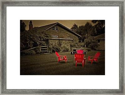 The Red Chairs In Neskowin Framed Print