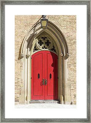 The Red Church Door. Framed Print