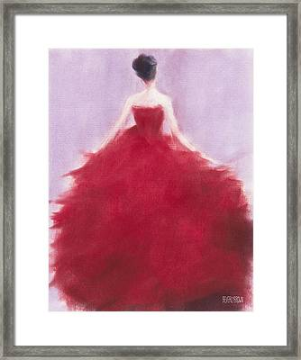 The Red Evening Dress Framed Print by Beverly Brown