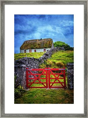 The Red Farm Gate In  Ireland Framed Print