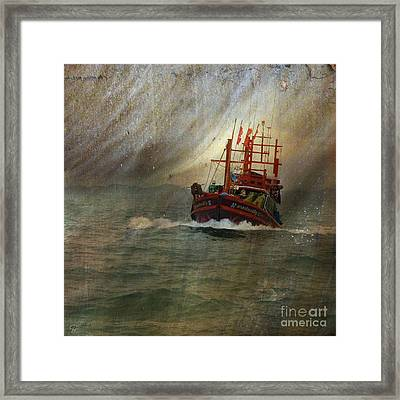 The Red Fishing Boat Framed Print