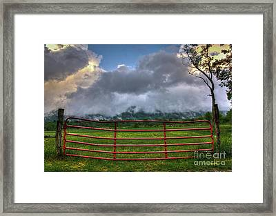 Framed Print featuring the photograph The Red Gate by Douglas Stucky