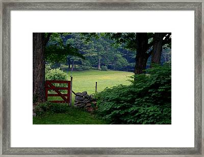 Framed Print featuring the photograph The Red Gate by Lois Lepisto