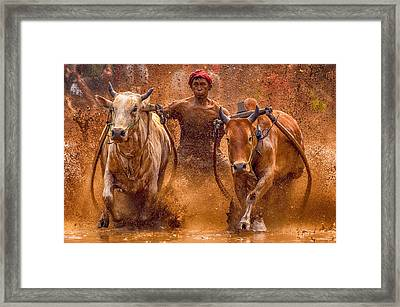 The Red Hat Framed Print by Media Hendriko
