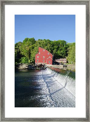 The Red Mill  Raritan River - Clinton New Jersey Framed Print by Bill Cannon