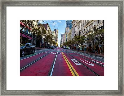 Framed Print featuring the photograph The Red Path by Darcy Michaelchuk