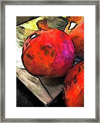 The Red Pomegranates On The Marble Chopping Board Framed Print