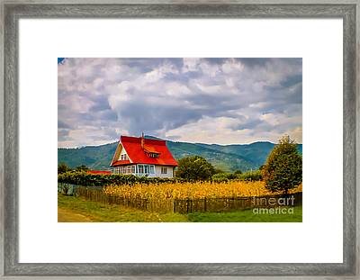 The Red Roof House Framed Print by Claudia M Photography