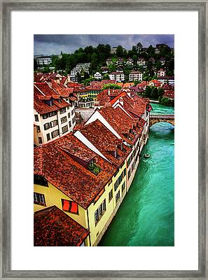 The Red Rooftops Of Bern Switzerland  Framed Print