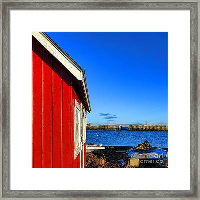 The Red Shack And The Cribstone Bridge Framed Print