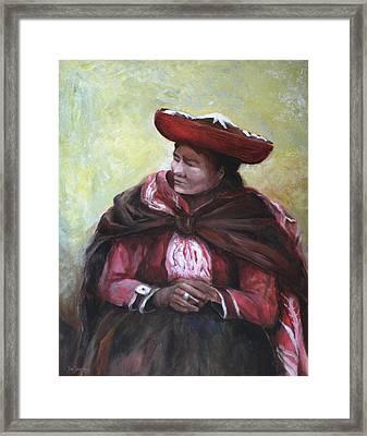The Red Shawl  Framed Print by Jun Jamosmos