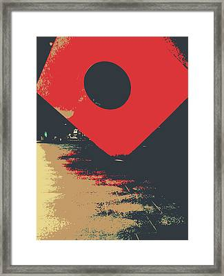 The Red Square Framed Print by Jhoy E Meade