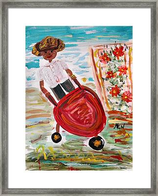 The Red Steel Barrow Framed Print by Mary Carol Williams