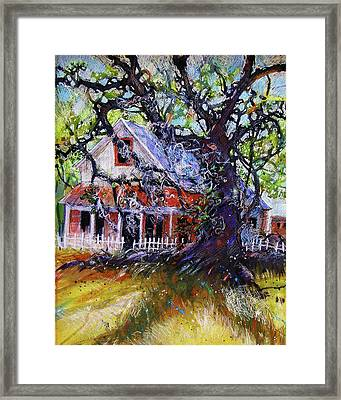 Framed Print featuring the painting The Red Store by Gertrude Palmer