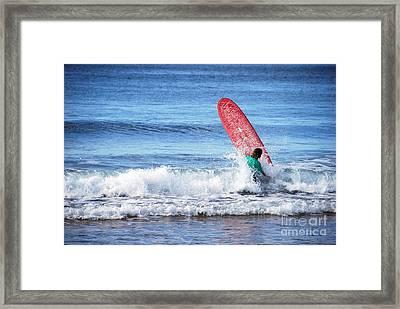 The Red Surfboard Framed Print by Joe Scoppa