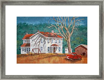 Framed Print featuring the painting The Red Swing by Tony Caviston
