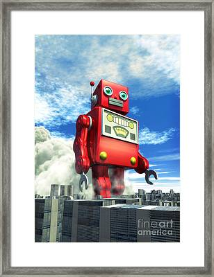 The Red Tin Robot And The City Framed Print