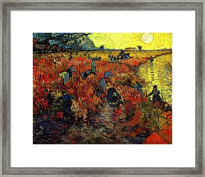 Framed Print featuring the painting The Red Vineyard At Arles by Van Gogh