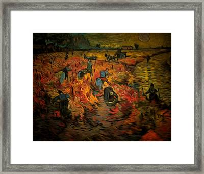 The Red Vineyard By Van Gogh Revisited - Da Framed Print