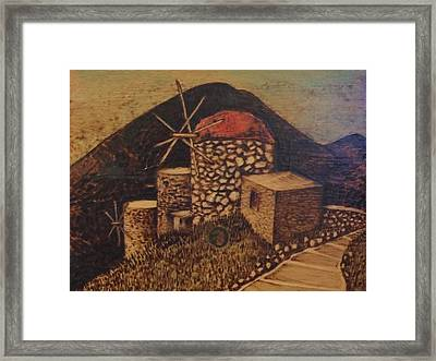 The Red Windmill Framed Print by Anna Dimarhos