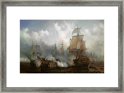 The Redoutable In The Battle Of Trafalgar, October 21, 1805 Framed Print by Auguste Etienne Francois Mayer
