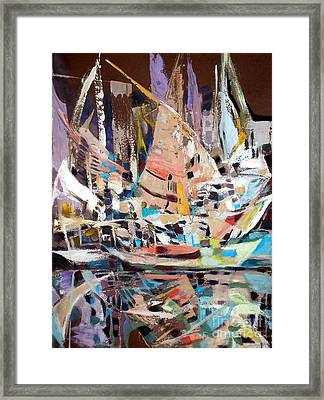 The Reflection Of Boats Framed Print by Therese AbouNader